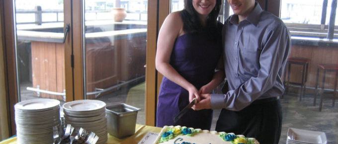 Cutting the Engagement Party Cake